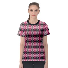 Colorful Argyle Pattern In Pink And Black Women s Sport Mesh Tee by CoolDesigns