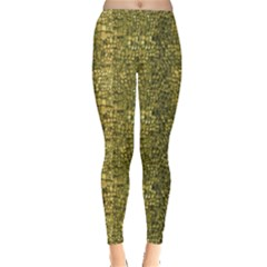 Green Leather Animal Snake Reptile Crocodile Pattern Women s Leggings by CoolDesigns