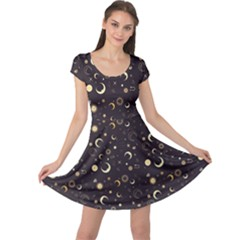 Black A Fun Night Sky The Moon And Stars Cap Sleeve Dress