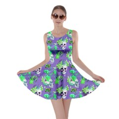 Violet Skull And Flowers Pattern Skater Dress by CoolDesigns