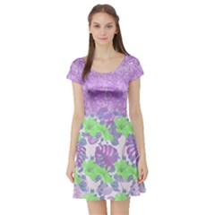 Violet Hawaii Short Sleeve Skater Dress by CoolDesigns