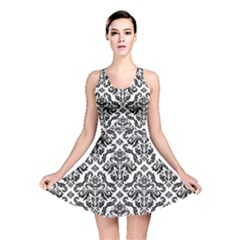 Black Oriental Fine Pattern With Damask Arabesque And Floral Reversible Skater Dress by CoolDesigns