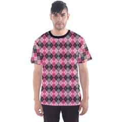 Colorful Argyle Pattern In Pink And Black Men s Sport Mesh Tee by CoolDesigns