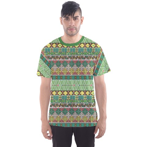 Green Tribal Aztec Pattern With Birds And Flowers Men s Sport Mesh Tee by CoolDesigns