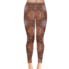 Brown Composition With Sun And Moon Leggings