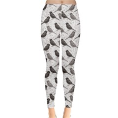 Gray Floral Pattern With Birds Leggings