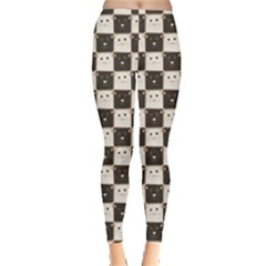 Black Chessboard Made Black And White Cats Leggings