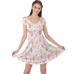 Colorful Yummy Ice Cream Pattern Cap Sleeve Dress