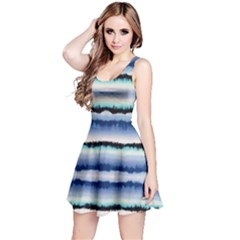 Blue & Black Strips Tie Dye Sleeveless Dress