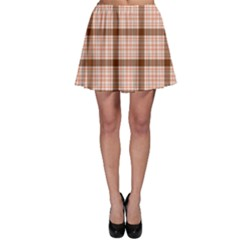 Brown Tartan Plaid Pattern Skater Skirt by CoolDesigns