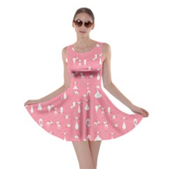 Peach Cats On Black Pattern For Your Design Skater Dress  by CoolDesigns