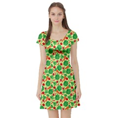 Light Yellow Vegetable Pattern Short Sleeve Skater Dress