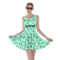 Mint Kitten Lovely Cats Pattern Skater Dress by CoolDesigns