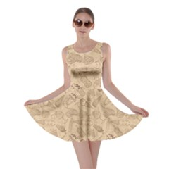 Brown Retro Sketch Pattern Of Ice Cream Skater Dress by CoolDesigns