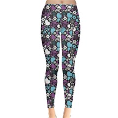 Purple Flowers Skulls And Hearts Pattern Leggings by CoolDesigns