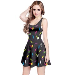 Colorful Space With Cats Saturn And Stars Sleeveless Skater Dress