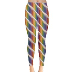Colorful Colored Rainbow Pencils Pattern Leggings