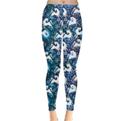 Blue White Horse On A Blue Ornamental Leggings by CoolDesigns