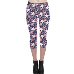 Blue Usa Stars And Stripes Pattern Capri Leggings