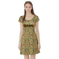 Colorful Pattern Plants Insects Short Sleeve Skater Dress