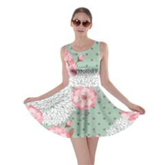 Light Green Blossom Skater Dress
