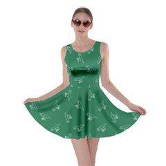 Green Tyrannosaurus Dinosaur Doodle Pattern Skater Dress  by CoolDesigns