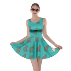 Turquiose Cat Skater Dress by CoolDesigns
