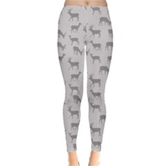 Gray Pattern With Deer In Gray Women s Leggings by CoolDesigns