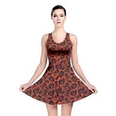 Brown Halloween With Pumpkin And Skeleton Pattern Reversible Skater Dress