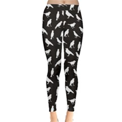 Black Birds Silhouettes Pattern Leggings by CoolDesigns