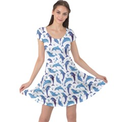 Blue Watercolor Pattern With Dolphins Cap Sleeve Dress