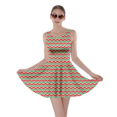 Red Repeating Chevron Zig Zag In Christmas Holiday Colors Skater Dress by CoolDesigns