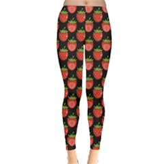 Red Pattern Strawberry Leggings by CoolDesigns