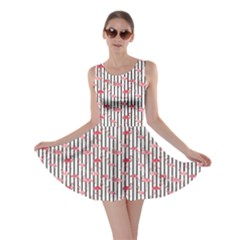 Pink Flamingo Bird Retro Pattern In Skater Dress by CoolDesigns