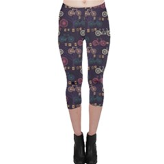Blue Pattern With Retro Bicycle Trees And Flags Evening Capri Leggings