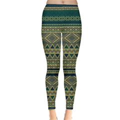 Green Aztec Tribal Chevron Stripes Leggings