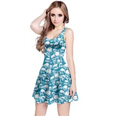 Dark Mint Grunge Skulls Pattern Sleeveless Skater Dress  by CoolDesigns