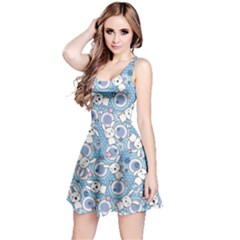 Light Blue Pattern Doddle Kawaii Sleeveless Skater Dress