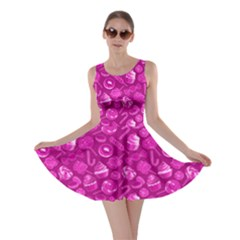 Hot Pink Yummy Colorful Sweet Lollipop Candy Macaroon Cupcake Donut Seamless Skater Dress
