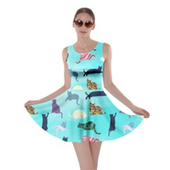 Cat Light Blue Skater Dress by CoolDesigns