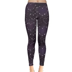 Blue Pattern Star Heart In Night Sky Women s Leggings by CoolDesigns