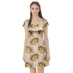 Nude Watercolor Butterfly Pattern Short Sleeve Skater Dress by CoolDesigns