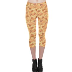 Orange Pattern Pizza Clip Art Capri Leggings