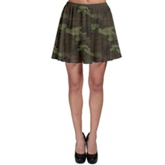 Green Camouflage Four Colour Woodland Pattern Skater Skirt by CoolDesigns