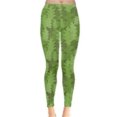 Green Green Leaves Repeating Pattern Leggings by CoolDesigns
