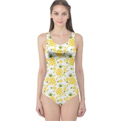 Yellow Pineapple Pattern One Piece Swimsuit by CoolDesigns