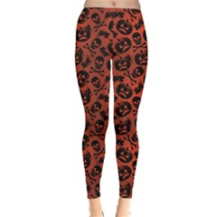 Brown Halloween With Pumpkin And Skeleton Pattern Women s Leggings