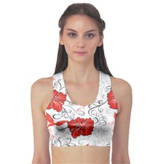 Red Hawaiian Patterns With Hibiscus And Hummingbirds Women s Sport Bra by CoolDesigns