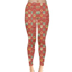 Brown Red Pattern With Owls Pattern Women s Leggings