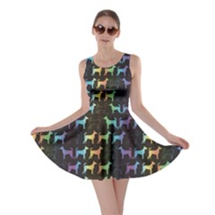 Colorful Bright Spectrum Pattern Of Dog Silhouettes On Black Skater Dress